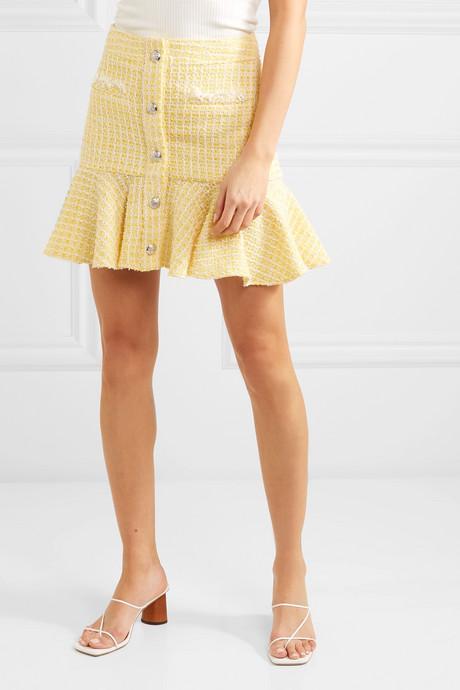 Ruffled checked bouclé-tweed mini skirt