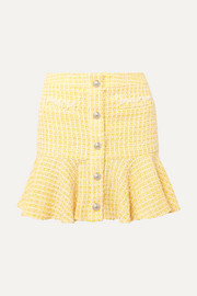 Veronica Beard Ruffled checked bouclé-tweed mini skirt
