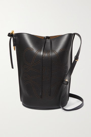 Gate perforated leather bucket bag