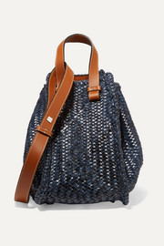 Hammock small woven leather tote