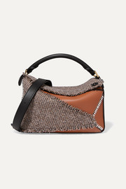 Puzzle medium leather and tweed shoulder bag