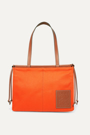 Loewe Cushion leather-trimmed canvas tote