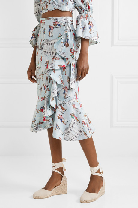Ruffled printed cotton-blend poplin wrap skirt