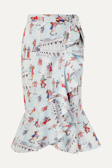 PATBO | PatBO - Ruffled Printed Cotton-Blend Poplin Wrap Skirt - Light Blue | Goxip