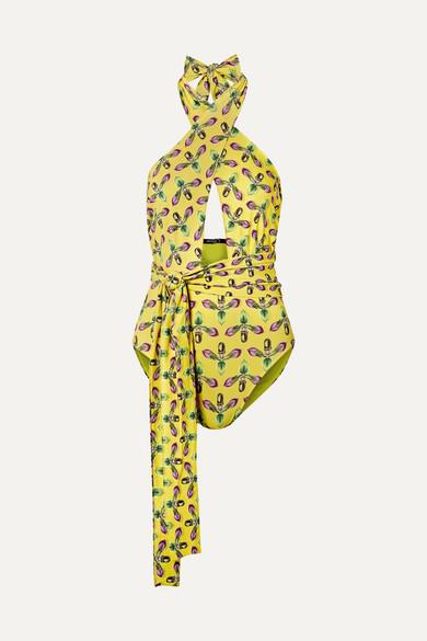 PATBO | PatBO - Cutout Printed Halterneck Swimsuit - Bright Yellow | Goxip