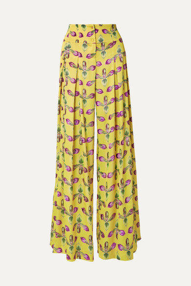 PATBO | PatBO - Pleated Floral-Print Satin Wide-Leg Pants - Bright Yellow | Goxip