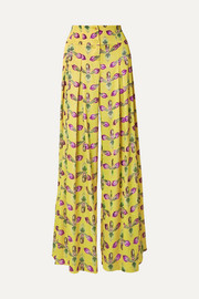 PatBO Pleated floral-print satin wide-leg pants