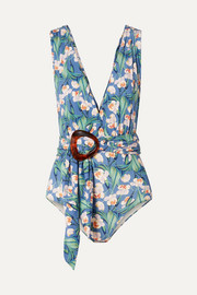 Belted floral-print swimsuit