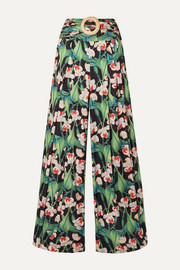 Belted pleated floral-print satin wide-leg pants