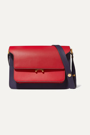 Trunk small color-block leather shoulder bag