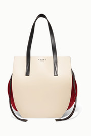Color-block leather and satin shoulder bag