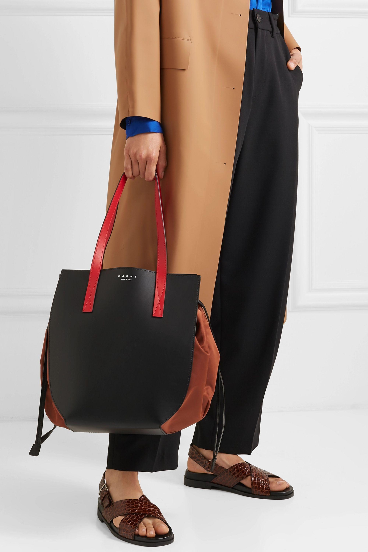 Marni Color-block leather and shell shoulder bag