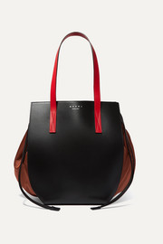Color-block leather and shell shoulder bag