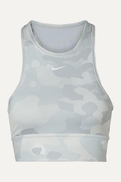 Nike Lingerie Everything mesh-paneled camouflage-print Dri-FIT sports bra
