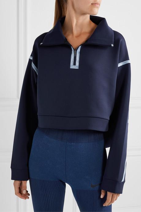 City Ready cropped grosgrain-trimmed stretch sweatshirt