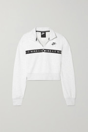 Air cropped printed cotton-blend fleece sweatshirt