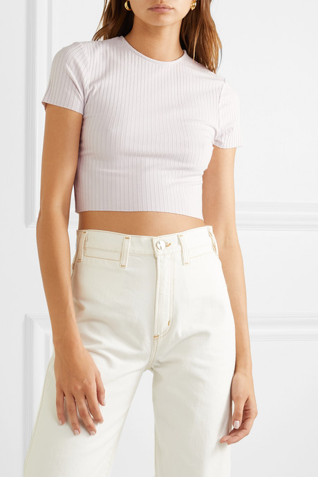 Esmée cropped ribbed stretch-jersey T-shirt