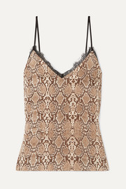Lace-trimmed snake-print silk-charmeuse camisole