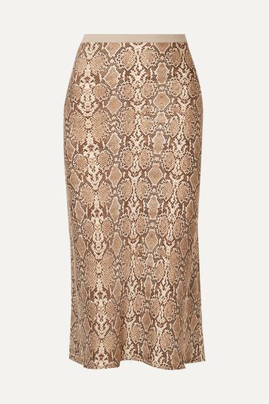 Bar Snake Print Silk Charmeuse Midi Skirt by Anine Bing