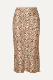 Bar snake-print silk-charmeuse midi skirt