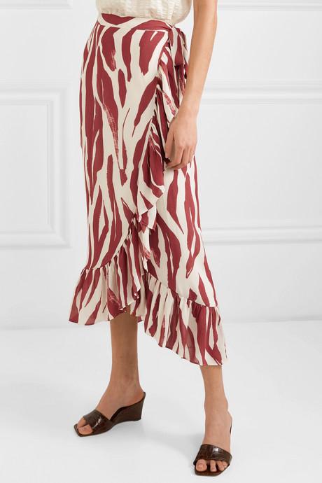 Lucky ruffled zebra-print crepe wrap skirt