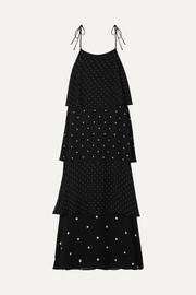 Anine Bing Daisy tiered polka-dot chiffon maxi dress