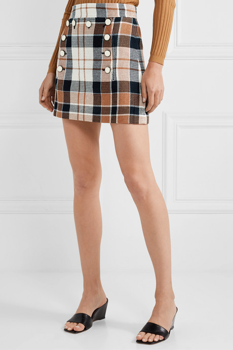 Ording button-detailed checked cotton and flax-blend mini skirt