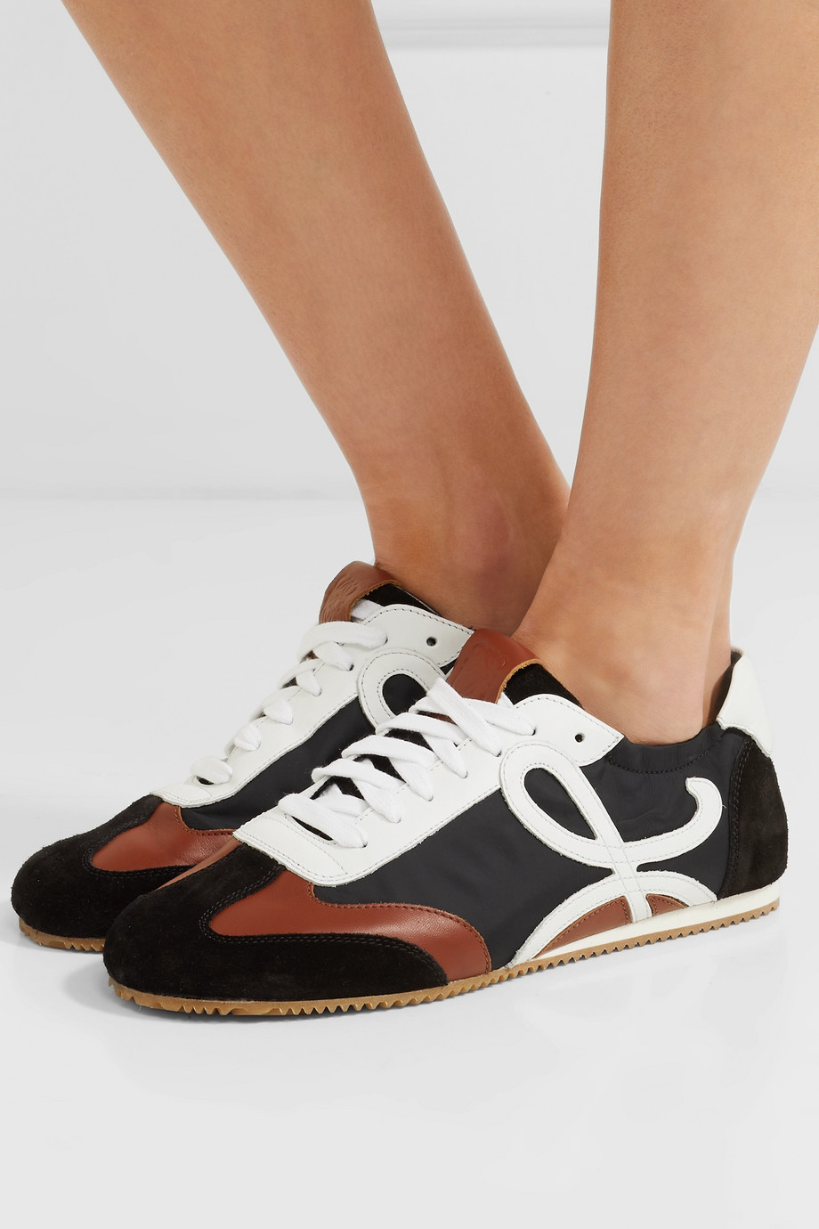 Loewe Leather, suede and shell sneakers
