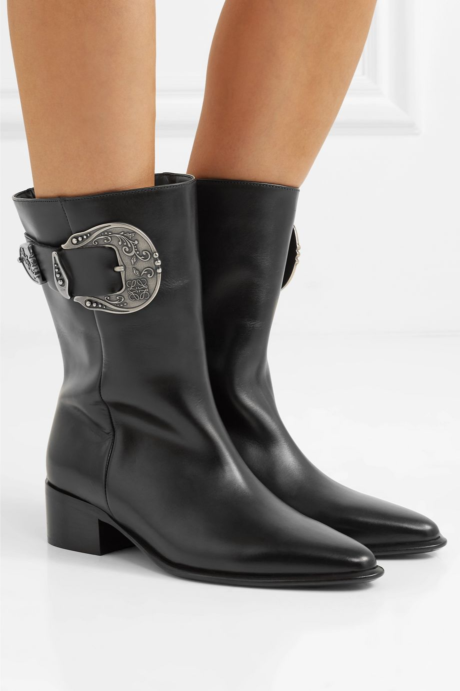 Loewe Buckled leather ankle boots