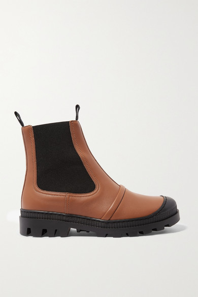 Rubber Trimmed Leather Chelsea Boots by Loewe