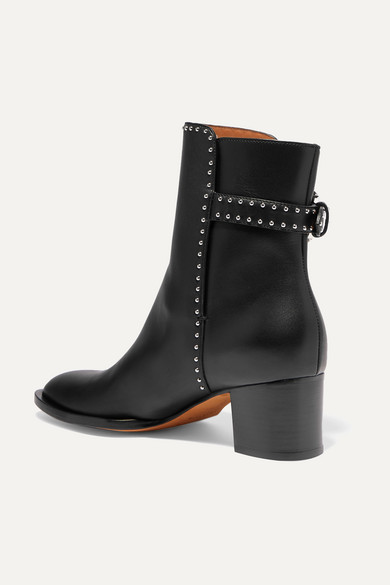 Givenchy Elegant Studded Leather Ankle Boots Net A