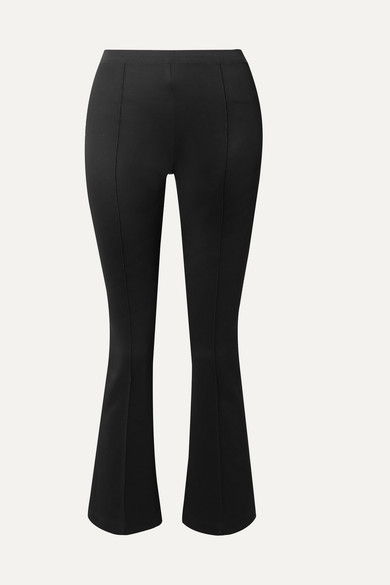 HELMUT LANG | Helmut Lang - Cropped Stretch-Jersey Flared Pants - Black | Goxip