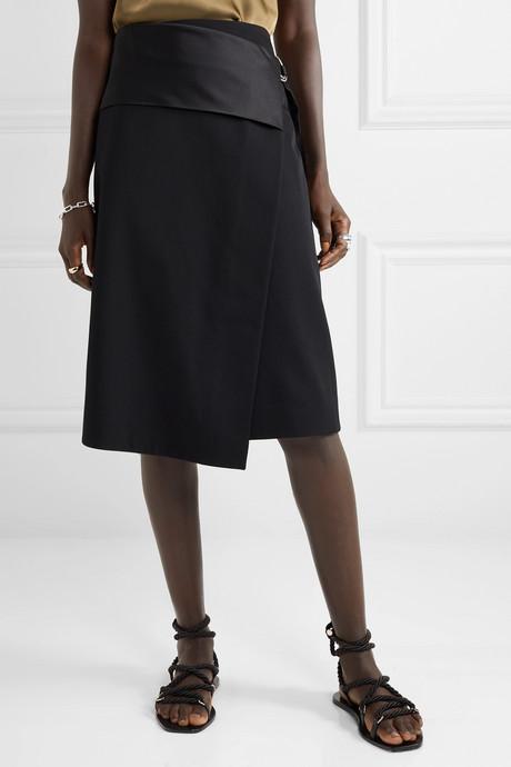 Satin-paneled wool-twill wrap skirt