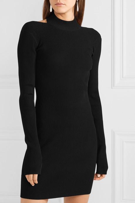Open-back ribbed-knit mini dress
