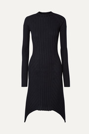 Helmut Lang Asymmetric ribbed wool dress