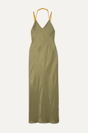 Helmut Lang Rubberband tulle-trimmed satin maxi dress