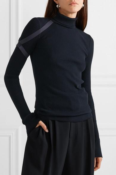 Helmut Lang Tops Elastic-trimmed ribbed cotton turtleneck top