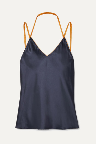 Helmut Lang Tops Tulle-trimmed satin camisole