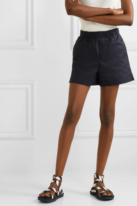 Coated cotton-twill shorts