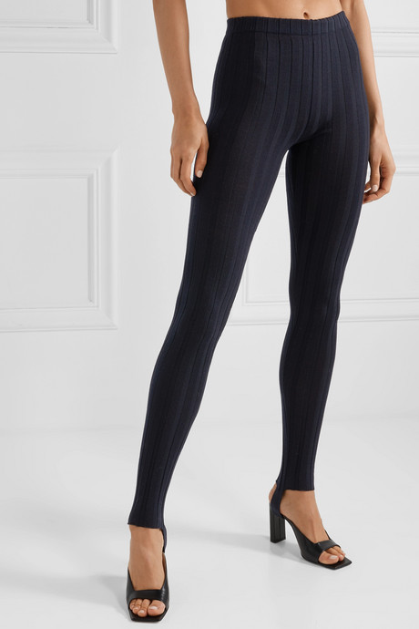 Ribbed wool-blend stirrup leggings