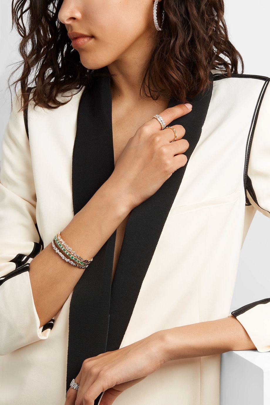 Suzanne Kalan Bracelet en or 18 carats, émeraudes et diamants