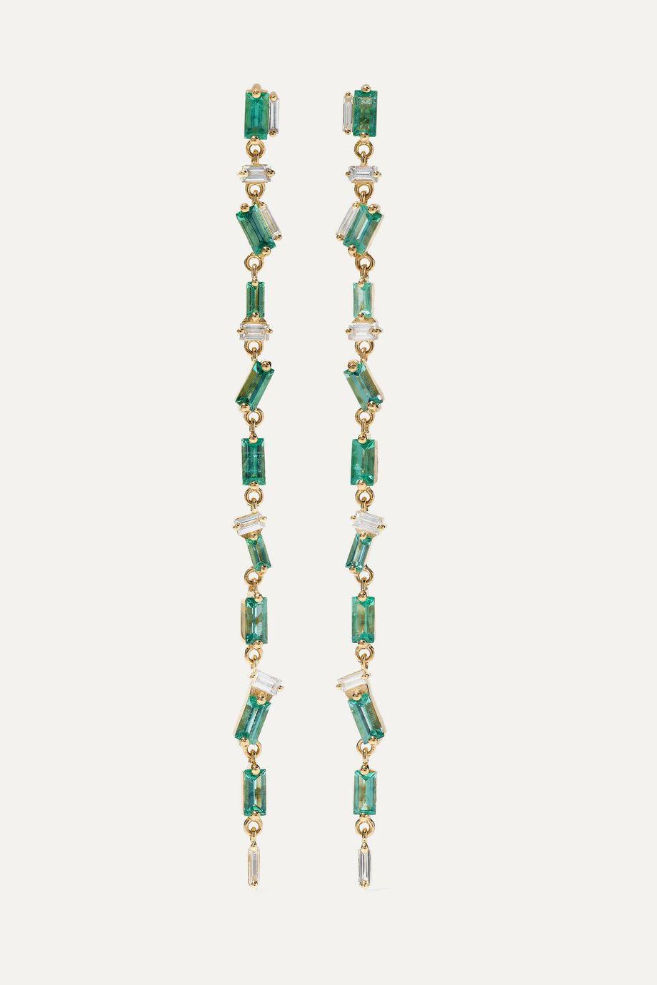 Suzanne Kalan Boucles d'oreilles en or 18carats, émeraudes et diamants