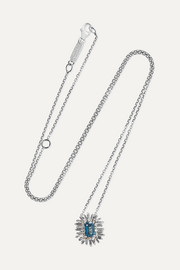Suzanne Kalan 18-karat white gold, topaz and diamond necklace