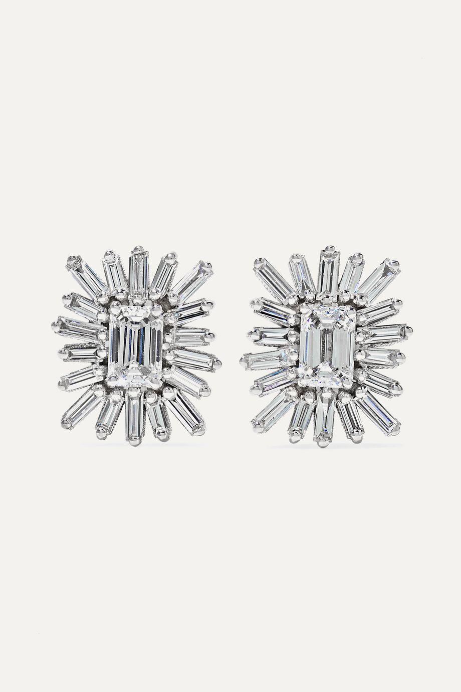 Suzanne Kalan Boucles d'oreilles en or blanc 18carats et diamants