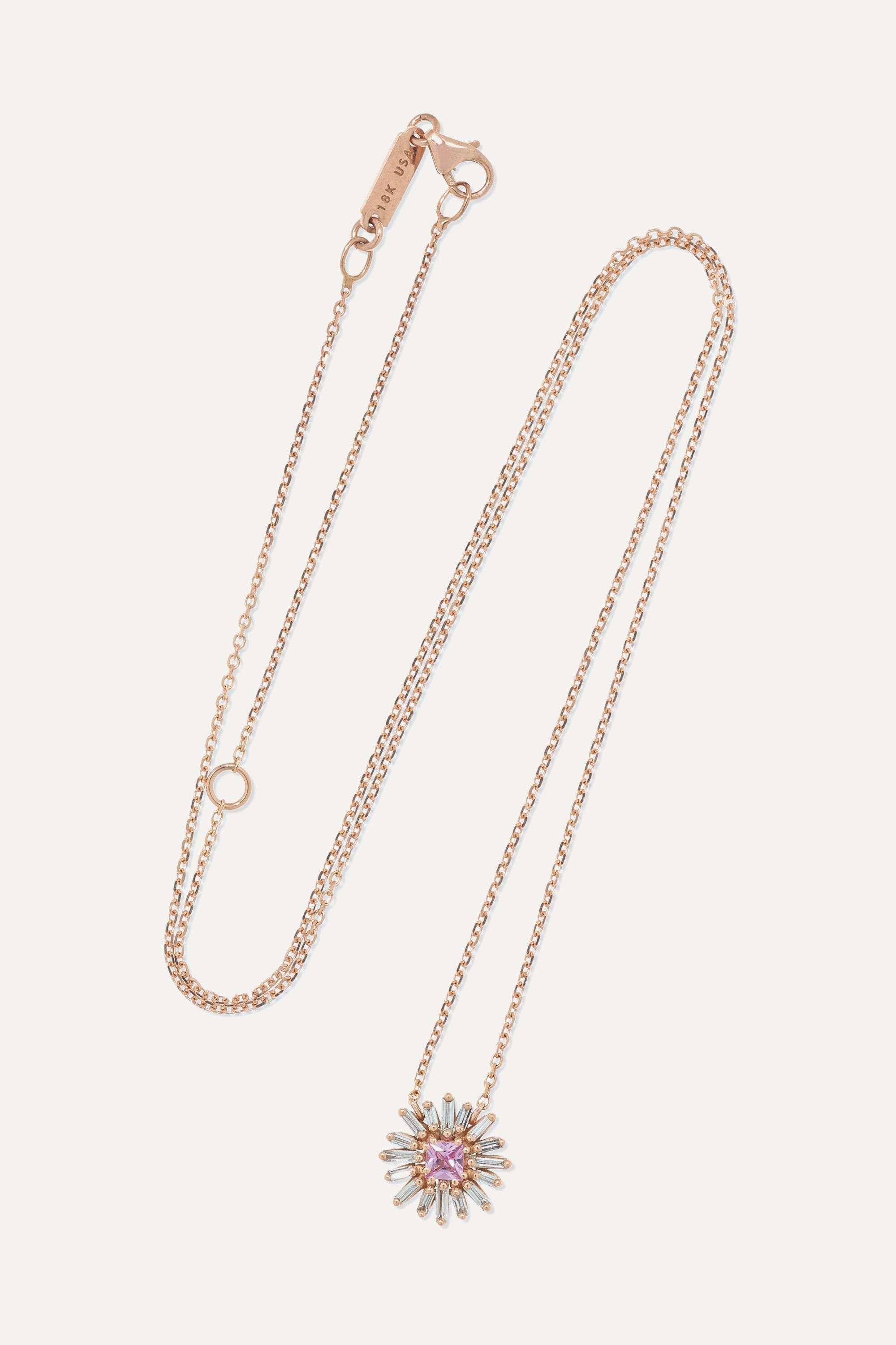 Suzanne Kalan 18-karat rose gold, diamond and sapphire necklace