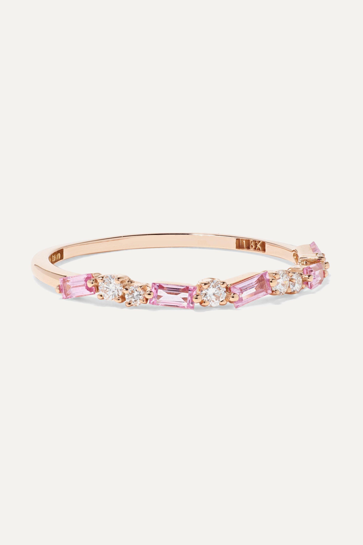 Suzanne Kalan 18-karat rose gold, diamond and sapphire ring