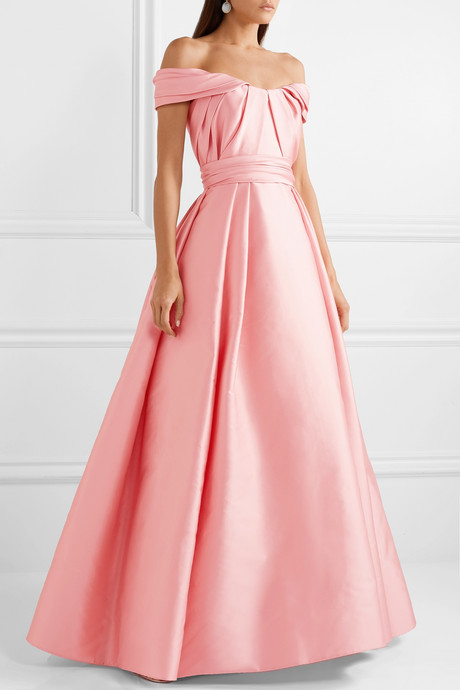 Off-the-shoulder pleated mikado gown