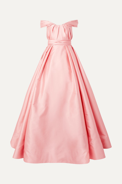 REEM ACRA Off-the-shoulder pleated mikado gown