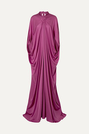 Draped silk-jersey gown