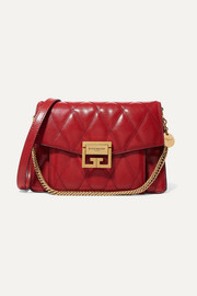 GV3 small quilted textured-leather shoulder bag
